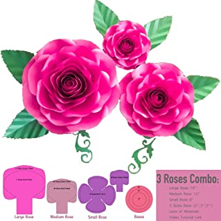 3 Sizes Large Medium Small Rose Paper Flower Template Kit for Paper Flower Set, Event Decor, Photo Booth, Backdrop and Wedding Paper Flower Wall