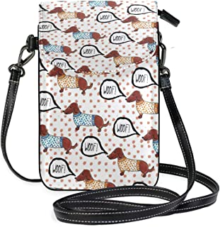 LORONA Woof Dachshund Dogs Patern Cell Phone Purse Wallet for Women Girl Small Crossbody Purse Bags