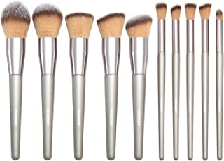 FIXBODY Makeup Brush Sets - 10 PCS Wood Handle Soft Synthetic fiber hair Kabuki Powder Blush Liquid Eyeliner Eyeshadow Lip Eyebrow Brush (Silver)