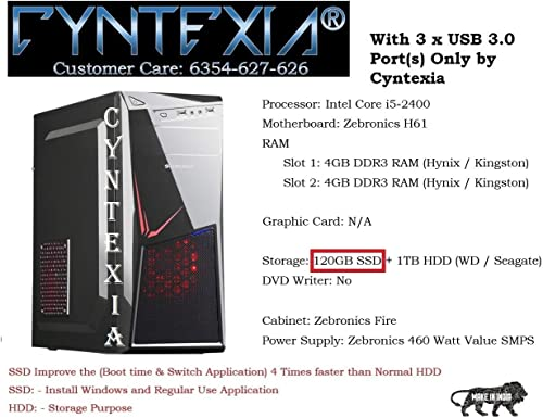 Cyntexia Computer Desktop Pc Office Intel Core i5-2400/8GB DDR3 RAM/120GB SSD/1TB HDD/Operating System & Basic Software Installed/Plug and Start product image