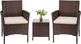 Tuoze Tozey 3 Pieces Patio Furniture PE Rattan Outdoor...
