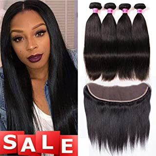 QinMei Brazilian Straight Hair 3 Bundles With Frontal Closure 13×4 Ear To Ear Lace Frontal Closure With Bundles 100% Unprocessed Virgin Human Hair Weave Extensions Natural Color (14 16 18 +12 Frontal)
