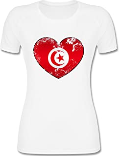 Vintage Destroy Rot Wappen D01 Damen T-Shirt Tunesien WM 2018 .