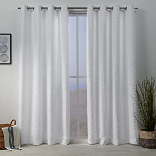 Exclusive Home Squared Embellished Grommet Top Curtain Panel Pair, White, 54x96, 2 Piece
