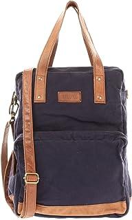 LECONI Rucksack & Umhängetasche in einem für Damen & Herren Retro Backpack Canvas  echtes Leder Bodybag DIN A4 Schultertasche 2in1 Freizeitrucksack 28x37x13cm LE1014-C
