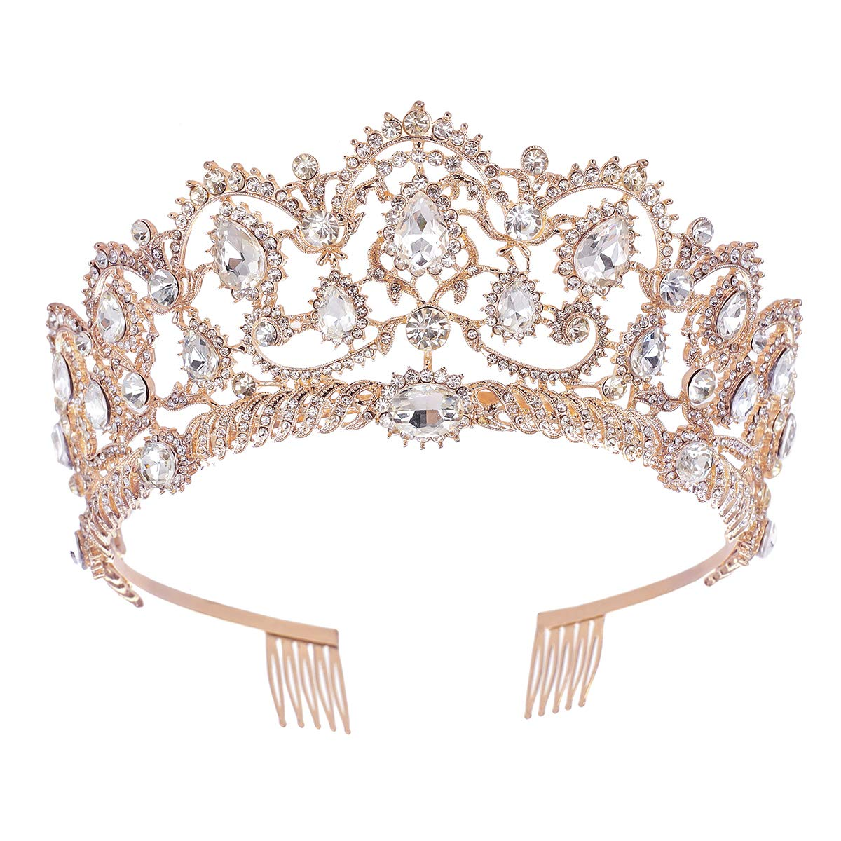 Jovono Wedding Crowns and Tiaras for Adults Bridal Gold Crown Tiara Crystal Hair