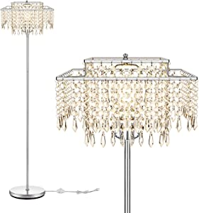Floor Lamp for Living Room,Double Layer Lampshade Crystal Floor Lamp for Bedroom,Elegant Standing Lamp,61.57