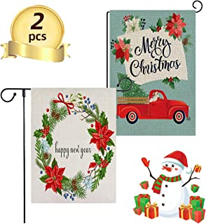Crenics Happy New Year Merry Christmas Garden Flag Kit, 12 X 18 Inch Double Sided Shows Funny Car and Flower, Home Decorative Seasonal House Flags for Outdoor Lawn Yard
