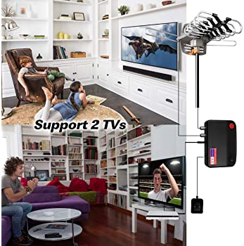HDTV Antenna Amplified Digital Outdoor TV Antenna 150 Miles Range with Mounting Pole-4K 1080p High Reception for All ...