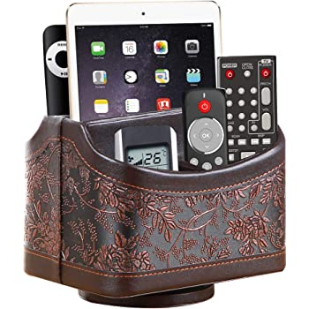 BLIENCE Leather 360°Rotatable Remote Control Holder,Nightstand TV Remote Caddy,Office Supplies Desktop Organizer,Spinning Storage Box for Pen,Mail,Phone,DVD, Blu-Ray, Media Player, Heater Controllers
