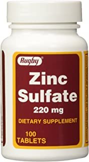 Rugby ZINC SULFATE TABS 220MG -(50MG Active Zinc Sulfate per tablet ) (Pack of 2)