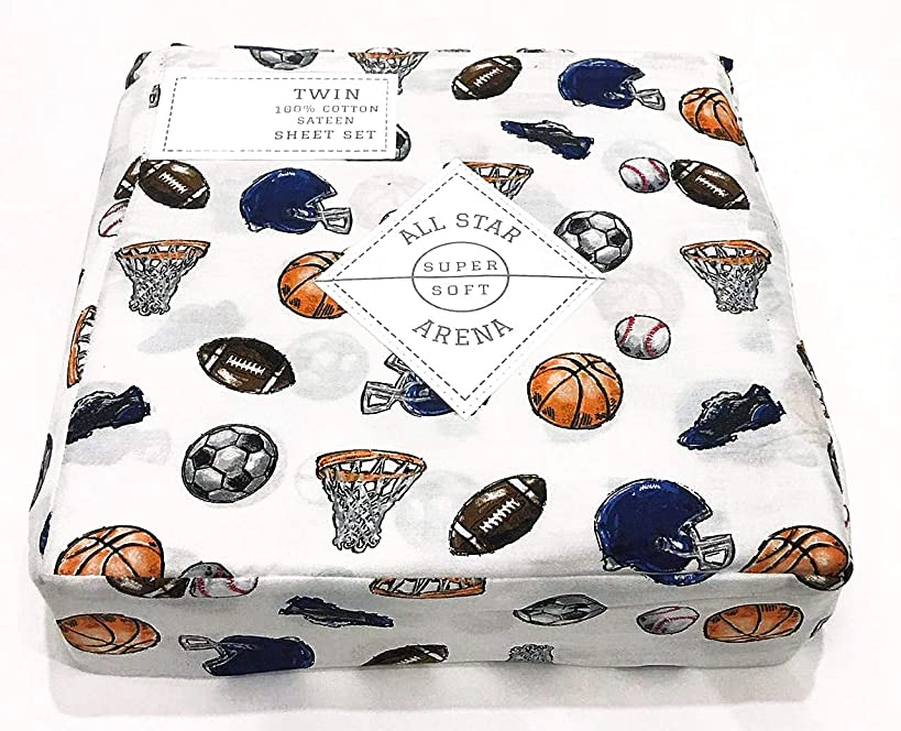 All Star Arena Boys Sports Themed Twin 3-pc. Sheet Set | 100% Easy-Care and Durable Cotton