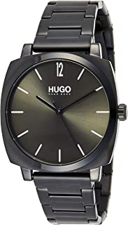 Hugo Boss Men's Green Dial Ionic Plated Black Steel Watch - 1530081