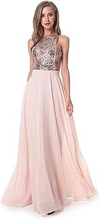 Beauty Kai Women's Long Formal Sequin Chiffon Evening Prom Dress