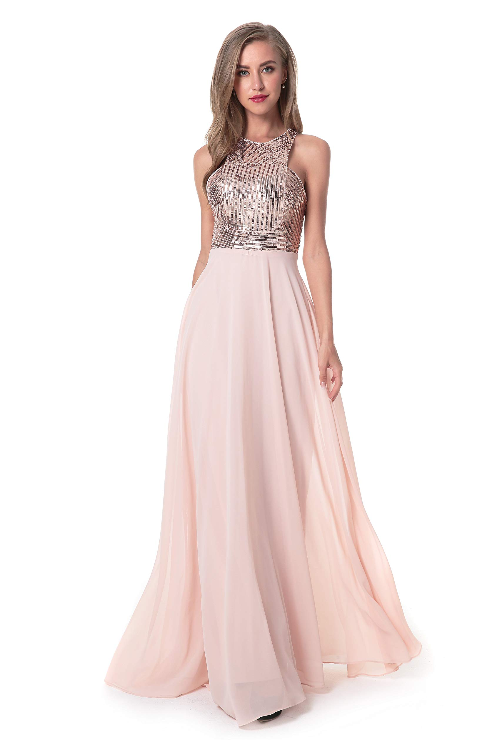 Women/'s Halter Bridesmaid Dress Lace Bodice Ruched Chiffon Evening Prom Gown