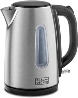 Black+Decker 1.7 Litre Concealed Coil Stainless Steel Kettle, Silver - JC450-B5, 2 Years Warranty