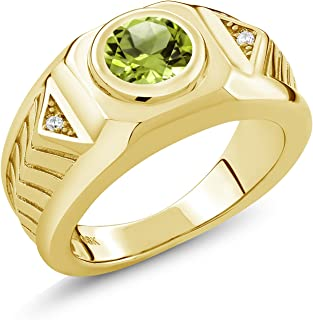 Gem Stone King 2.03 Ct Round Green Peridot 18K Yellow Gold Plated Silver Men's Ring