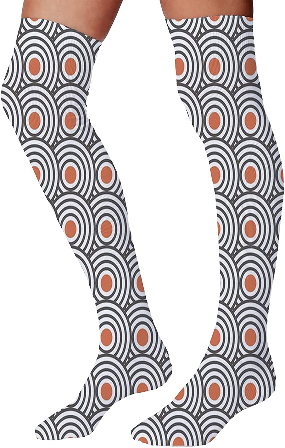 Men's and Women's Fun Socks,Neoclassical Borders Composition Meander Pattern and Flowers with Waves
