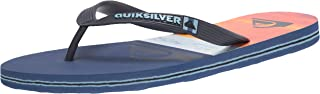 Quiksilver Men's Print 3 Point Sandal Flip-Flop, Blue/Blue/Orange Molokai Panel, 11
