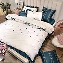 Modern And Simple Heart-shaped Bow Flounced Cotton Embroidery Small Fresh Seven Sets Of Bedding Quilt Bed Linen Simple Sty...
