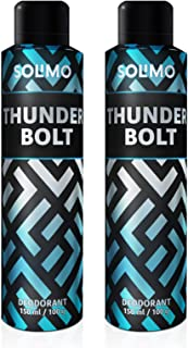 Amazon Brand - Solimo Gas Deodorant - Pack of 2 (ThunderBolt)
