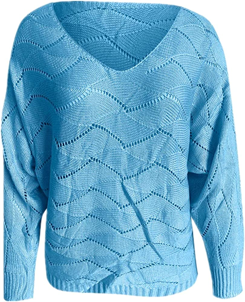 NP Women's Autumn Loose Long-Sleeved Neck Sweater Casual Hollow Out Daily