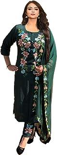 Ashwati Women's Rayon Embroidered Kurta Pant Duppata Set