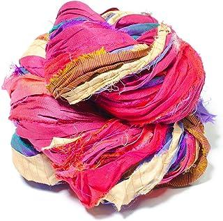 100 gram Recycled Sari Silk Ribbon Ribbon Pink Heart Block Print