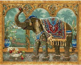 DIY Oil Painting kit, Paint by Numbers kit for Kids and Adults - Elephant 16x20 inches (Framed)