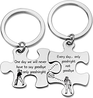 SIDIMELO Couples Puzzle Gifts Long Distance Relationships Keychain One Day We Will Never Have to Say Goodbye Only Goodnigh...