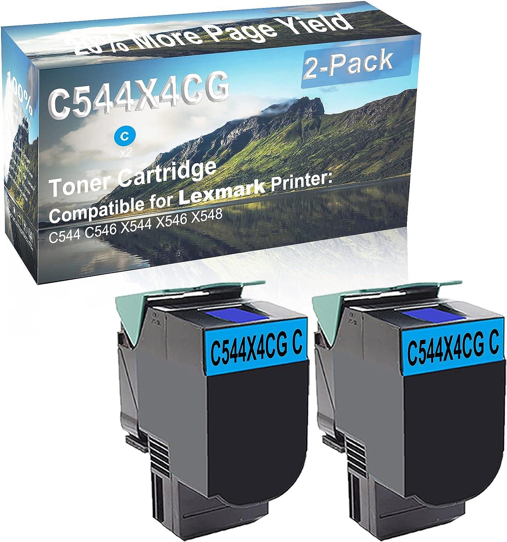 2-Pack (Cyan) Compatible High Capacity C544X4CG Toner Cartridge Used for Lexmark C544 C546 X544 X546 X548 Printer