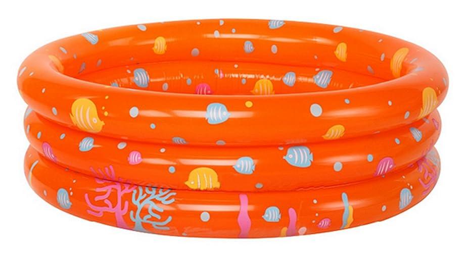 命令的盆地幹C-Princess ビニールプール エアープール ベビー 赤ちゃん 幼児 子供 キッズ プール 家庭用プール インフレータ 底もフワフワ 可愛い 夏 オレンジ