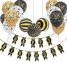 Sunarrive Deco Anniversaire 40 Ans Noir et Or Decoration Ballons 40 Ans pour Homme Femme