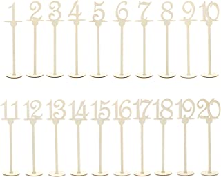 (Underlined Script) - 7Penn Table Numbers 1-20 - Wooden Numbered Stands with Underline for Tables at Wedding Receptions, R...