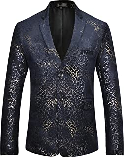 Sportides Men's Casual Slim Fit Stylish Printed Two Button Blazer Jacket Suits JZA133 Navy XL