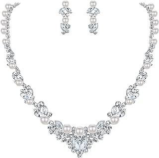 Bridal Leaf Jewelry Set Clear Austrian Crystal Simulated Pearl