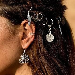 Nicute Boho Coin Dreadlocks Hair Rings Silver Head Clip Hair Accessories for Women and Girls