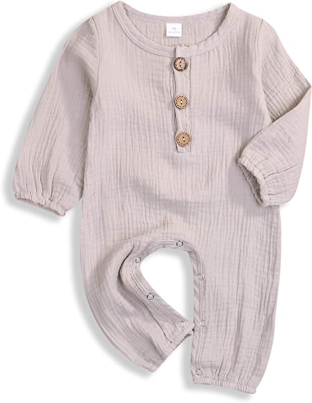 YOUNGER TREE Newborn Baby Boy Girl Bodysuit Cotton Linen Long Sleeve Romper Jumpsuit Summer Fall Outfits Clothes 0 18M