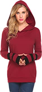 Zeagoo Women Color Block Sleeves Hooded Thumb Hole Sleeves Sweatshirt