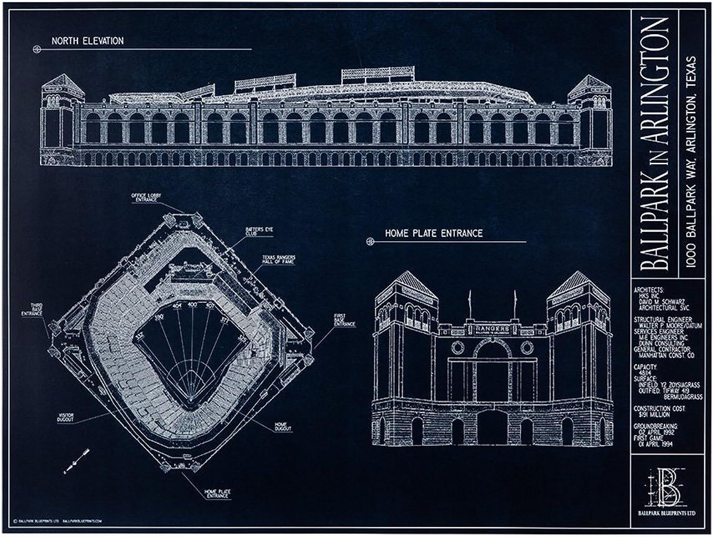Ballpark in Arlington blueeeprint Style Print