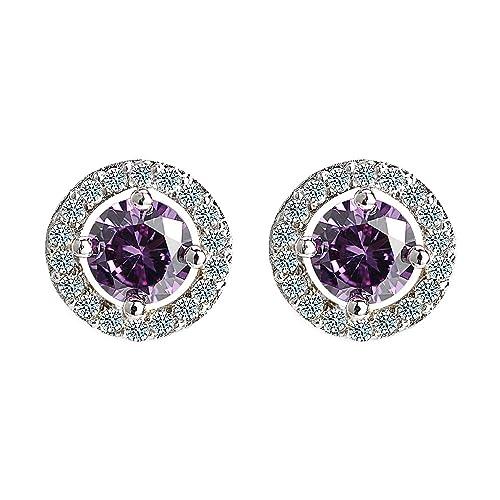 830a971342 Sterling Silver Crystal Earrings for Women Ear Studs