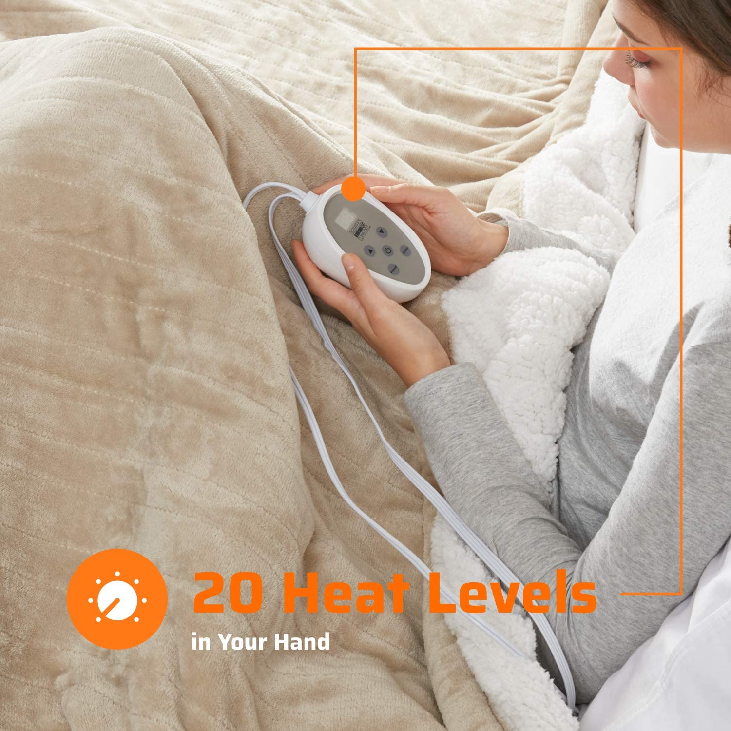 1-10 Hour Auto Shut Off |Washable Full Size Bed Electric Blankets with 20 Heat Settings Controller Degrees of Comfort Sherpa Plush Heated Blanket 80 X 84 Grey