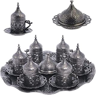Alisveristime Ottoman Turkish Greek Arabic Espresso Coffee Cups with Saucer and Lid (Set of 6) (Lale) (Black)