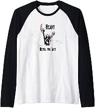 Skull Devil Shirt I Black Heavy Metal I Rock Horns Hand Raglan Baseball Tee