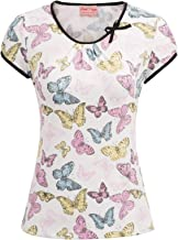 Belle Poque Women Vintage Floral Print Pleated Blouse Bow-Knot Decorated T-Shirt Tops BP844