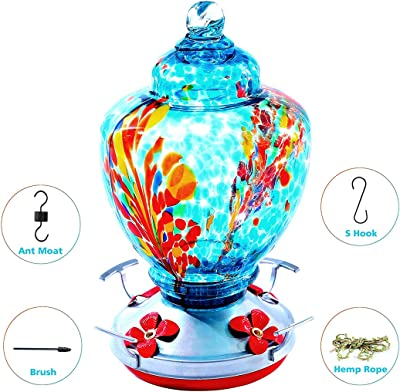 Upgraded Hummingbird Feeder for Outdoors, Glass Bird Feeders Easy to Clean&Filling,Brand Bird Feeder Best with Color Hand Blown Glass,Leakproof 32 Ounces Hummingbird Feeders,Hanging Hook&Ant Moat