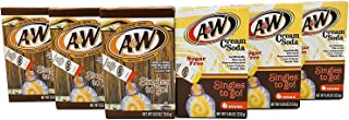 A&W Singles To Go Variety Pack, 3 Root Beer, 3 Cream Soda - Sugar Free, Non Carbonated Drink Mix - 6 CT Per Box