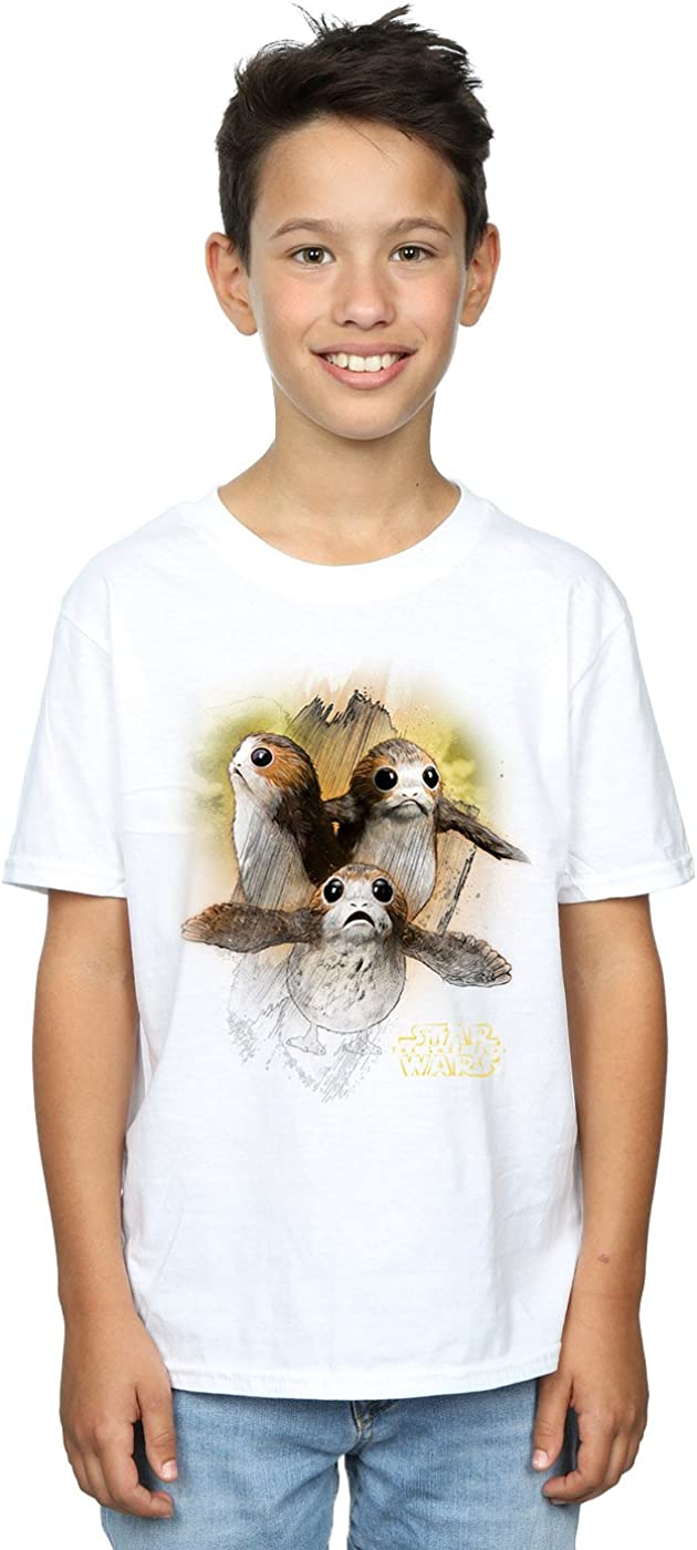 STAR WARS Boys The Last Jedi Porgs Brushed T-Shirt 12-13 Years White