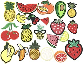 YAKA 21pcs Assorted Iron Embroidery Patches Fruit Kits, Embroidery Applique Sewing for Jackets Dress Hat Vest Jeans Backpacks Clothes, Decoration Applique Patch DIY Accessory Fruit
