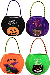 4 Styles Halloween Goody Bags Trick or Treat Candy Bags Velvet Tote Bags Gift Basket for Kids Party Favor, Pumpkin Ghost B...